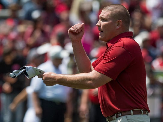 Alabama defensive coordinator Tosh Lupoi before the