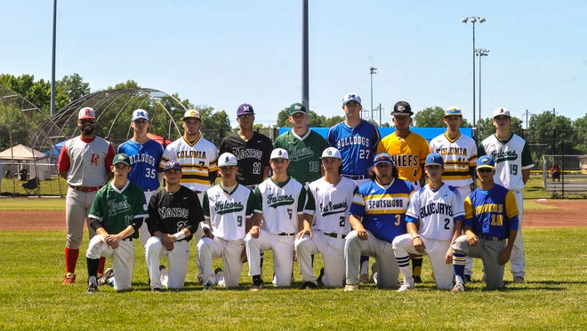 The Home News Tribune's All-Greater Middlesex Conference baseball first-team. Back row (L-R): Chris Brito (Perth Amboy), Jay Harry (Metuchen), Chris Michael (Colonia), Nick Payero (Monroe), Mike Stanczak (South Plainfield), Matt Volpe (Metuchen), Matt Peterson (Piscataway), Frank Lehmann (Colonia), Seb Mueller (St. Joseph). Front row (L-R): Chris Shine (South Plainfield), Bryant Skurbe (Monroe), Jon Sot (St. Joseph), Kyle Subers (St. Joseph), Mike Falco (East Brunswick), Mike Izzo (Spotswood), Jared Venutolo (North Brunswick), Andrew Tan (North Brunswick).