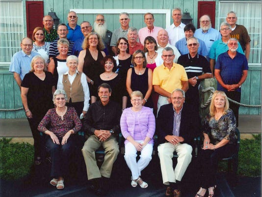 Littlestown High School Class of 1970: The class held its 45th class reunion recently at Bay City Restaurant. Class members who attended are shown, front row, from left, Linda Bless Stitely, George Shue (teacher), Peggy Hartlaub Roser, Robert Wildasin (teacher), Sharon Lippy Rinehart; second row, Tony Rebert Battiste, Darlene Messinger Parlette, Roxanne Hall Schloyer, Lana Bittle, Barry Noel; third row, Robert Riley, Pamela Basehoar Klunk, Shirley Ritter, Doris Maitland, Stephanie Maitland, Baron Redding, Gregory Myers; fourth row, Joann Sponseller Holland, Michael Redding, Daniel Brown, Joseph Bucher, Elwood Albin, Martin Mehring, Baron Sentz; back row, Steve Strevig, Gordon Snyder, Randy Morgret, Kevin Zumbrum, Dean Spangler, Allen Plitt, Leroy Baumgardner and Jeffery Rohrbaugh.