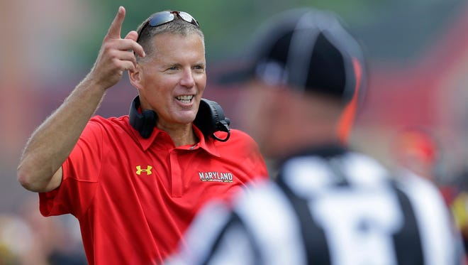 Maryland football coach Randy Edsall gestures on the sideline against Richmond on Sept. 5, 2015, in College Park, Md.