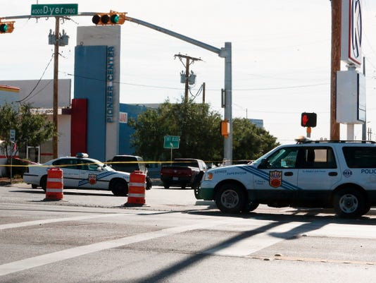 Rudy Gutierrez—El Paso Times Monroe at Dyer is blocked off Friday morning as an investigation continues following an early morning shooting near there.