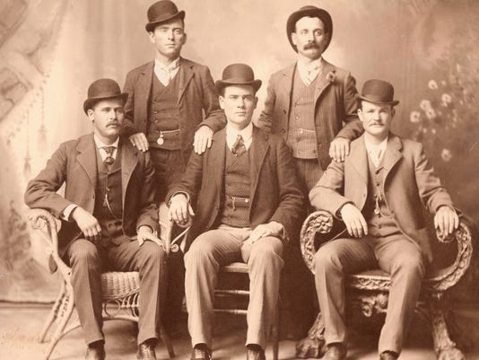The Fort Worth Five, from left: Harry Alonzo Longabaugh (The Sundance Kid), William Carver (News Carver), Benjamin Kilpatrick (The Tall Texan), Harvey Logan (Kid Curry), and Robert Leroy Parker (Butch Cassidy).