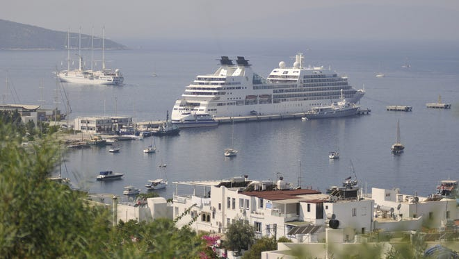 A cruise ship in moored in Bodrum, Turkey, on Aug. 13.