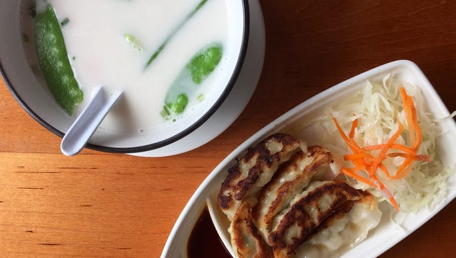 Gyoza and Tom Kha at Peter's Sushi & Thai in Brentwood.