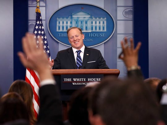 Sean Spicer meets with the media during the daily briefing