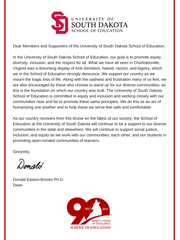 Letter in response to Charlottesville