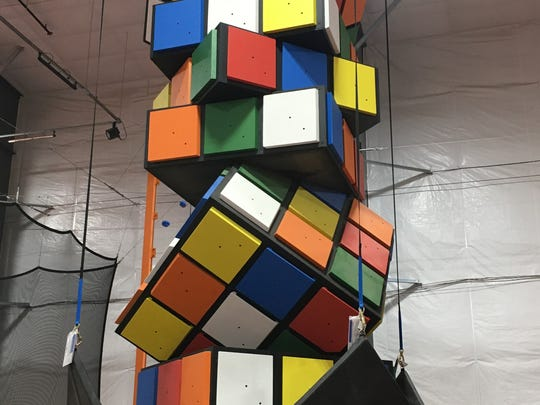 The climbing cube at Air Madness Trampoline Park in Harrisburg.