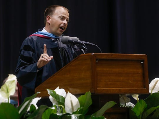 Superintendent John Jungmann speaks during Parkview High School's commencement ceremony at JQH Arena in 2017.