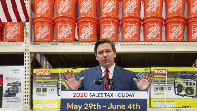 Florida Governor Ron DeSantis at a Home Depot to promote the the sales tax holiday and encourage people to prepare for the hurricane season in Boca Raton, Florida on May 29, 2020.