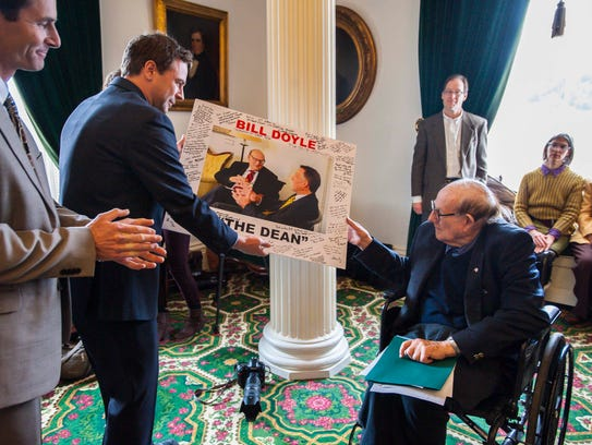 Former Senator Bill Doyle, right, was honored at the