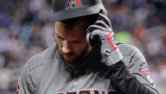 Arizona Diamondbacks' Steven Souza Jr. pulls off his batting helmet after striking out against the New York Mets during the fourth inning of a baseball game, Friday, May 18, 2018, in New York. (AP Photo/Julie Jacobson)