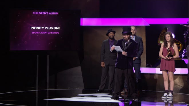 Asheville-turned-California kid-hop artist Secret Agent 23 Skidoo on stage at the 2017 Grammy Awards.