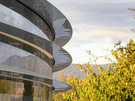 Apple Park's headquarters is a circular ring that is