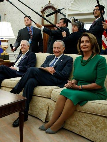 From left, President Trump,  Senate Majority Leader