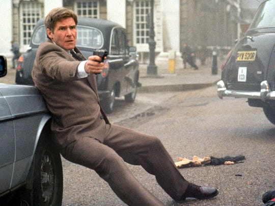 """In """"Patriot Games,"""" Harrison Ford's Ryan (a history professor at the U.S. Naval Academy) intercepted an Irish Republican Army attack on a royal motorcade. He soon replaced the royal family as Enemy No. 1 in the eyes of the terrorist cell's leader (Sean Bean)."""