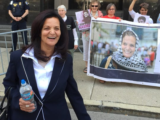 Rasmieh Odeh, 69, leaves federal courthouse in Detroit
