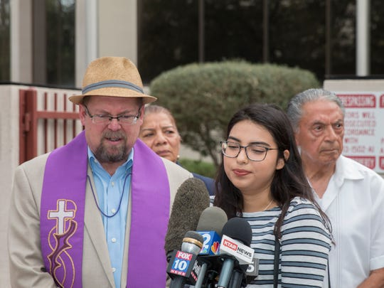 Promise Arizona joins local clergy for a press conference on the federal family separation policy outside Immigration and Customs Enforcement office in downtown Phoenix on June 15, 2018.