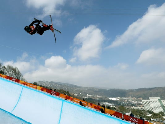 Nico Porteous, of New Zealand, jumps during the men's halfpipe finals at Phoenix Snow Park at the 2018 Winter Olympics in Pyeongchang, South Korea, Thursday, Feb. 22, 2018. (AP Photo/Gregory Bull)