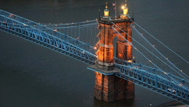 The John A. Roebling Suspension Bridge over the Ohio River. The bridge dates back to 1866.