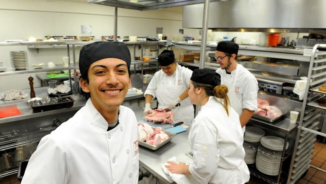 Jose Luis Luna Leon, a student at Rancho Cielo's Drummond Culinary Academy, has helped prepare 1,000 pounds of turkey for the Castroville Community Feast. It's also his first Thanksgiving with a stable roof over his head at Rancho Cielo since he dropped out of high school at 16 and has been on-and-off homeless while doing farm work for rent money.