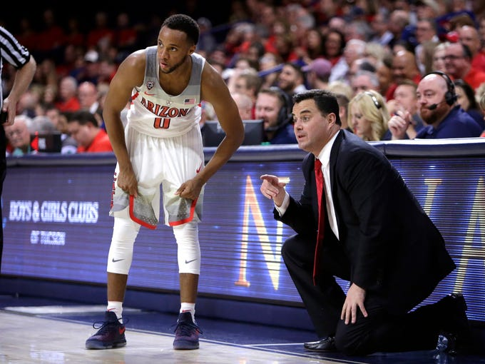 Arizona head coach Sean Miller in the first half during