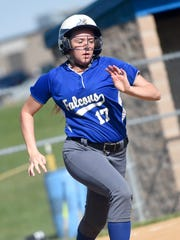 Cedar Crest's Emma Spang races to first base  during Monday's 9-0 victory over Lebanon.