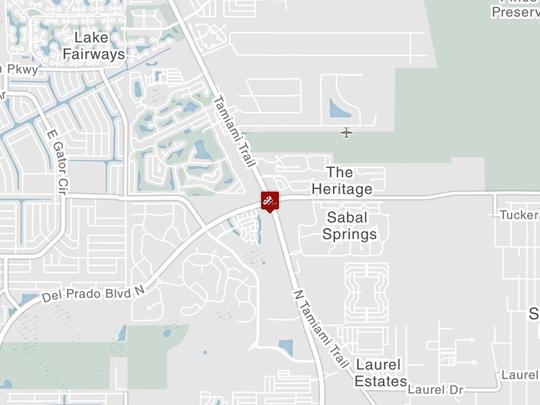 A crash with injuries is blocking US 41 at Del Prado Blvd in North Fort Myers