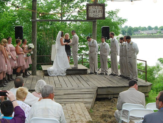 The wedding ceremony of Kendra Hall and Michael Blackthorn.