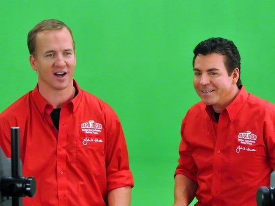 """Peyton Manning is known as """"Papa John"""" in Denver. He owns 21 Papa John's franchises and has been the spokesman for the pizza company, starring in many commercials with CEO and founder John Schnatter."""