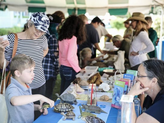 Eli Vela, 5 (from left), and his grandmother, Imelda Halladay of Ingleside, speak about turtles, jellies, and alligators with Debbie Edwards, outreach coordinator from the Texas State Aquarium, at the annual Earth Day-Bay Day on Saturday, April 9, 2016, at Heritage Park.