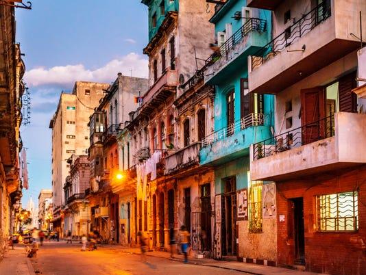 streets of havana, cuba at dusk