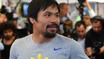 Manny Pacquiao in the ring during a media day workout at Wild Card Boxing Club.