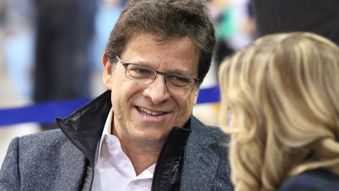 "Brewers owner Mark Attanasio does an interview at the team's ""On Deck"" fan fest Sunday afternoon at the Wisconsin Center."