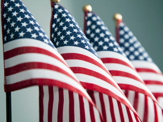 A stock image of American flags.