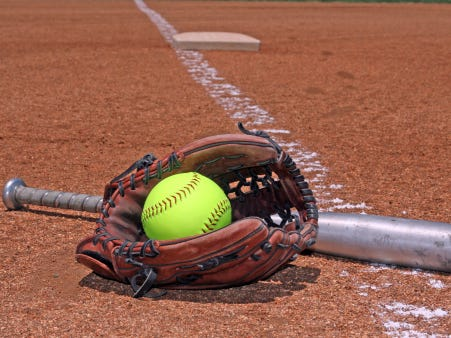 softball glove and bat