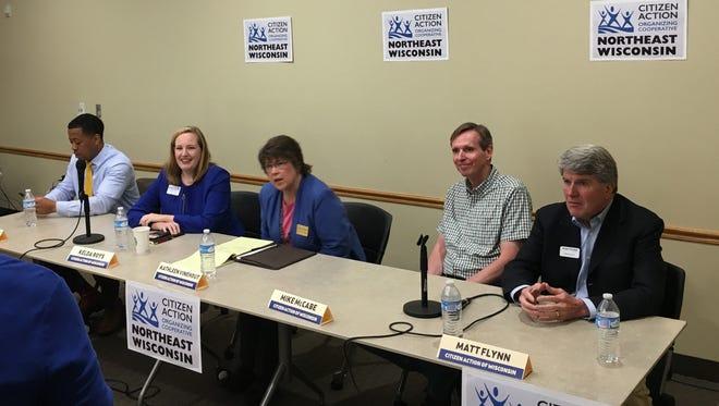 Gubernatorial candidates, from left, Mahlon Mitchell, Kelda Roys, Kathleen Vinehout, Mike McCabe and Matt Flynn participate in Saturday's Citizen Action of Wisconsin forum in De Pere.