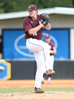 Konnor Pilkington throws a pitch during a recent Mississippi State game.