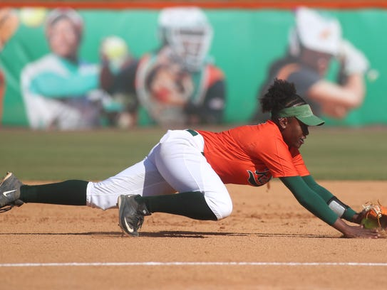 FAMU's Yurie Hampton dives for a ground ball  during