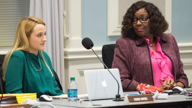 Knox County School Board student representative Sydney Rowell, left, addresses the board during their meeting Monday, Feb. 27, 2017. At right is First District board member Gloria Deathridge.