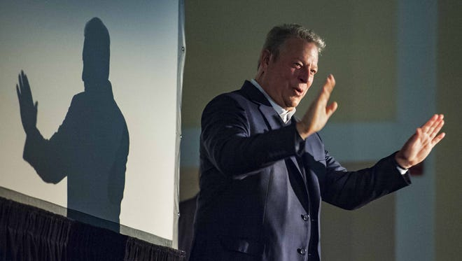 "Former Vice-President Al Gore acknowledges applause before delivering a lecture titled ""The Climate Crisis and the Case for Hope"" in Ira Allen Chapel at the University of Vermont in Burlington on Tuesday, October 6, 2015."