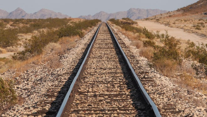Cadiz Inc. has proposed to build a water pipeline alongside this rail line in the Mojave Desert.