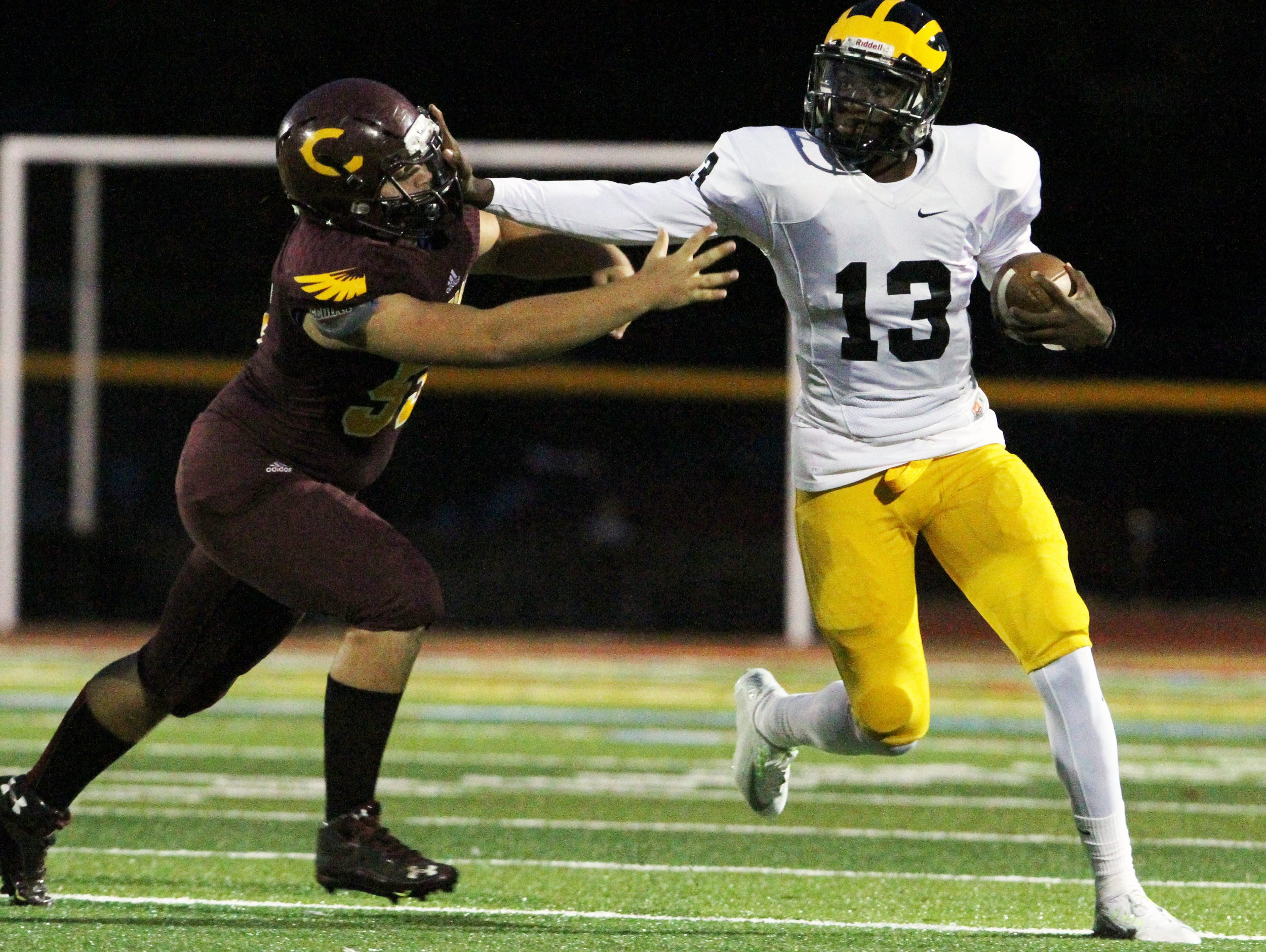 St. John Vianney quarterback Anthony Brown, shown being pursued by a Central Regional defender on Sept. 25, and the Lancers will host Red Bank Catholic Friday night in a NJSIAA Non-Public Group III semifinal..