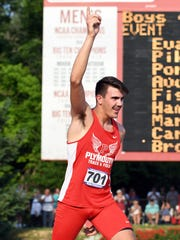 Plymouth's Nate Patterson celebrates at the conclusion of the high jump during the boys IHSAA track and field state finals at Robert C. Haugh Track and Field complex in Bloomington, Ind. on Saturday, June, 2, 2018.