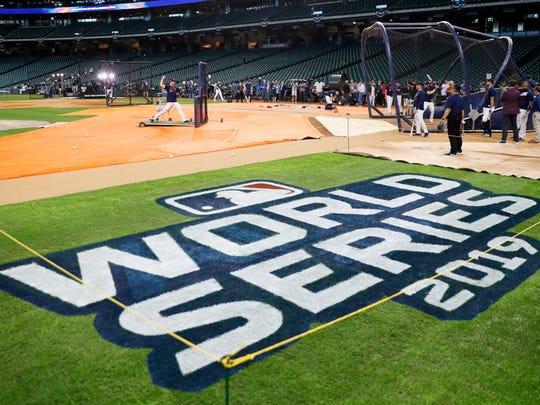 Houston Astros take batting practice for baseball's World Series Monday, Oct. 21, 2019, in Houston. The Houston Astros face the Washington Nationals in Game 1 on Tuesday. (AP Photo/Matt Slocum)
