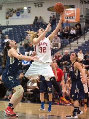 Lenape senior Maddie SIms goes to the basket with during the 2016 Tournament of Champions quarterfinal game between Lenape and Old Tappen at Toms River North High School in Toms River, N.J. on Wednesday, March 16, 2016.