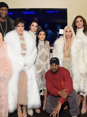 Gang's all here. Khloe Kardashian, Lamar Odom, Kris Jenner, Kendall Jenner, Kourtney Kardashian, Kanye West, Kim Kardashian, Caitlin Jenner and Kylie Jenner attend Kanye West Yeezy Season 3 on February 11, 2016.