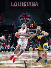 UL's scoring leader, Frank Bartley IV, goes to the basketball against Appalachian State earlier this month.