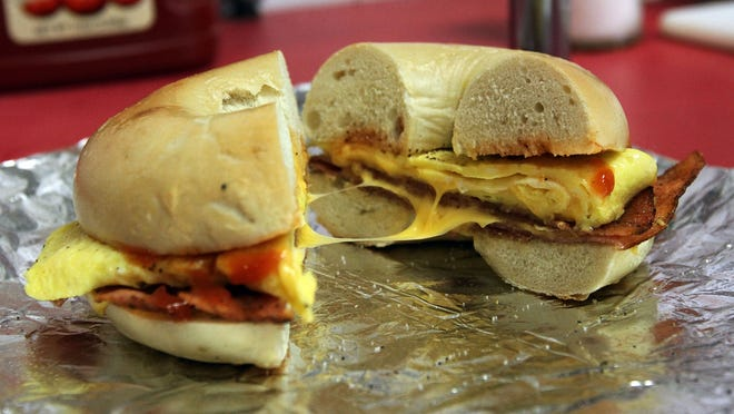 """Dunellen Bagel was part of """"Best bagels in Central Jersey"""" Courier News poll. The owners are Jeff and Douglass Portik. This pork roll, egg, and cheese is a favorite lunch sandwich."""