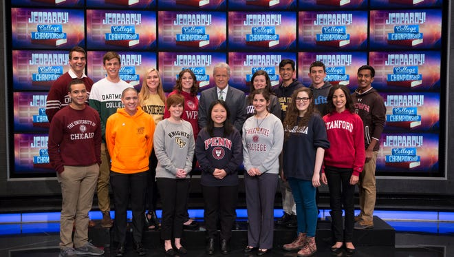 "The contestants for the ""Jeopardy! College Championship"" for 2018. Rebecca Rosenthal, 20, of Ridgewood is third from right in the front row."