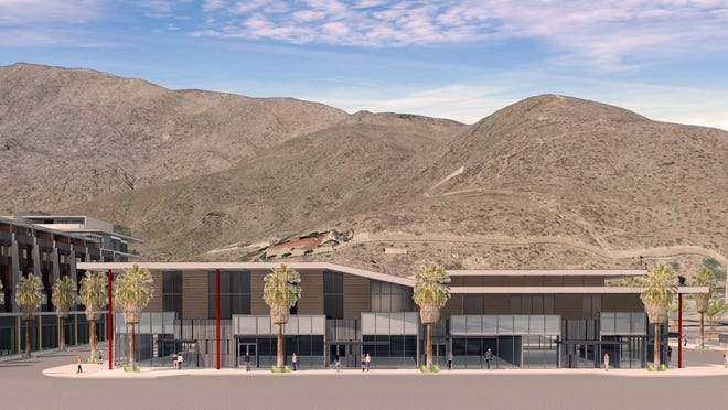 An architect's sketch of the redesigned building in Block B, fronting Palm Canyon Drive, in the redevelopment of downtown Palm Springs.